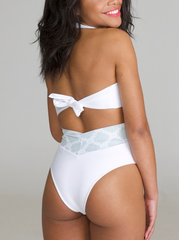 African Style Story Gisele Swimsuit White with Geometric Green Model Back