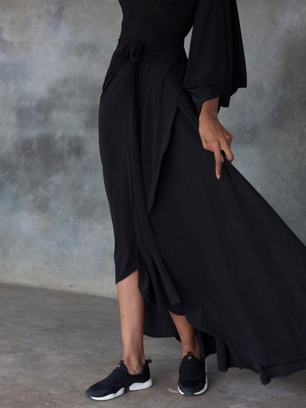 Erre Dancing Lady Maxi Wrap Dress Black Cropped