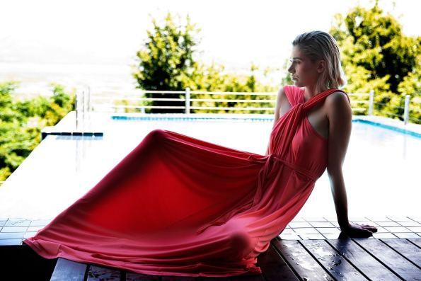 Erre Twist Dress Coral Modeled 2