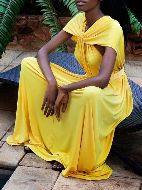 Yellow Maxi Dress with front twist