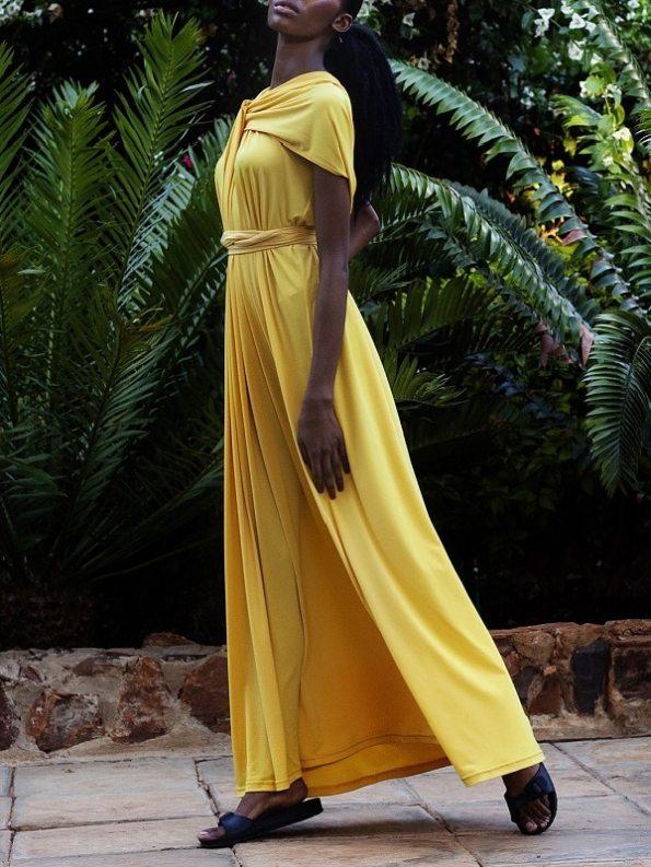 Erre Twist Dress Yellow Side