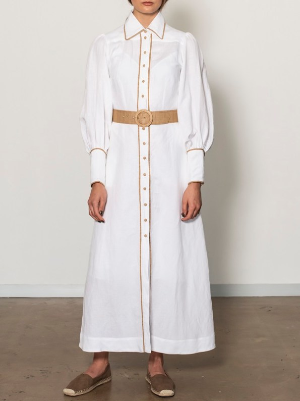 Smudj Aaron Maxi Dress White Linen Front