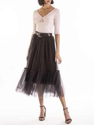 Black net tiered skirt