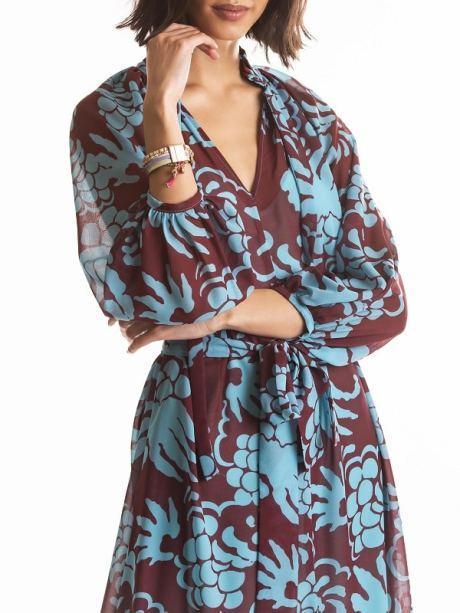 blue and burgundy dress