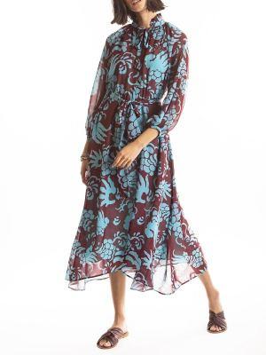 blue and burgundy print midi dress