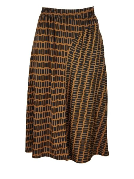 African Style Story Panel Skirt Rust Doors