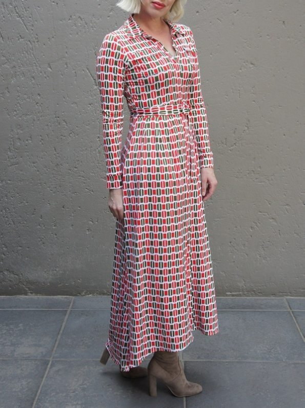 African Style Story Shirt Dress, Green and Red Doors Side