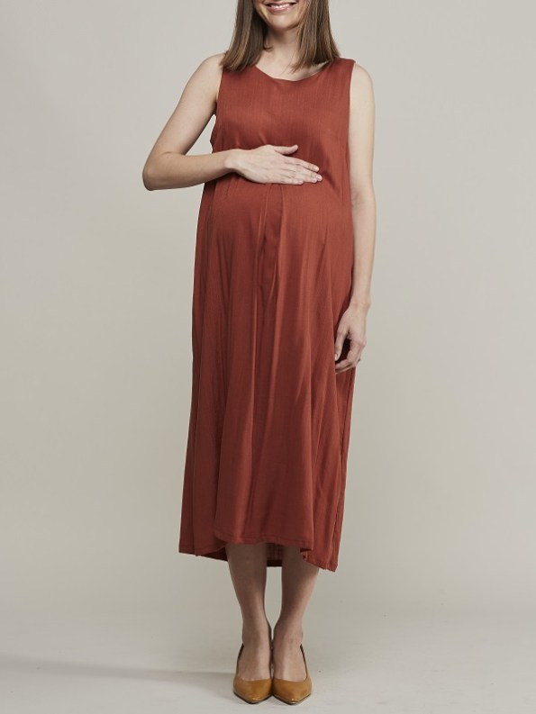Mareth Colleen Camille4Mom Dress Rust Front 2