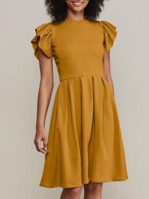 Mareth Colleen Tam Dress Mustard Front
