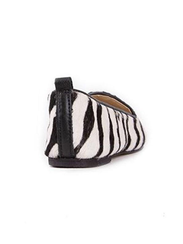 House of Cinnamon Adelaide Pointed Loafer Zebra Print Back