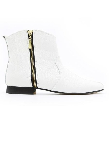 House of Cinnamon Cowboy Ankle Boot White