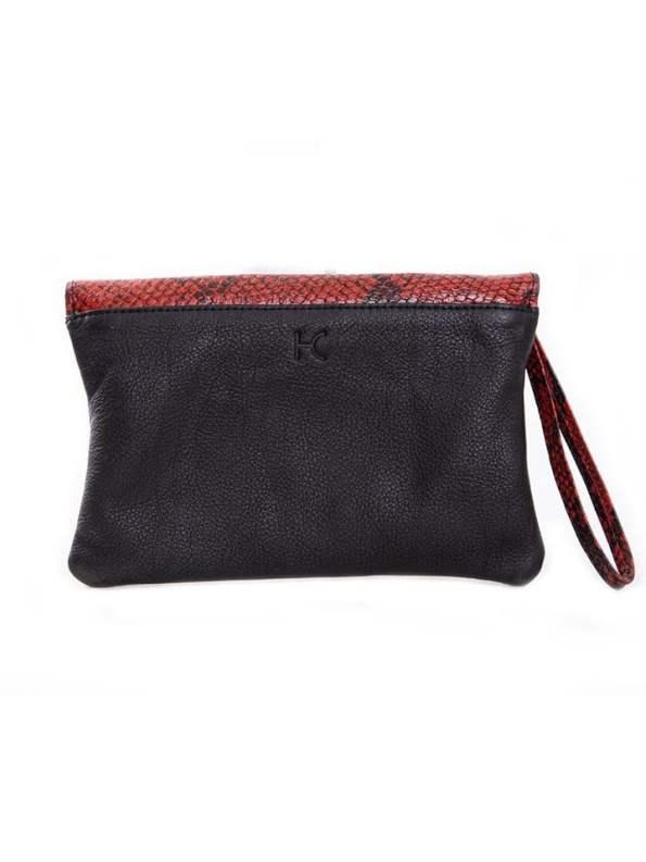 House of Cinnamon Jan Clutch Bag Black & Red Back