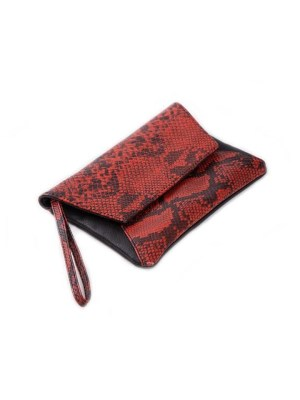 Red snake print clutch bag