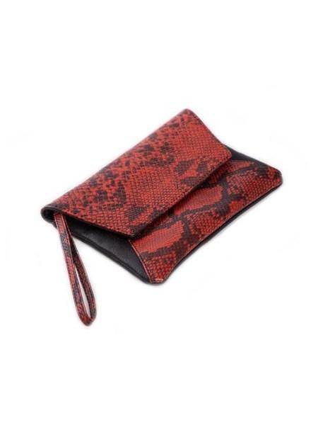 Red snake print clutch bag