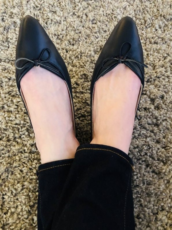 House of Cinnamon Monica Pointed Flat Navy Modeled