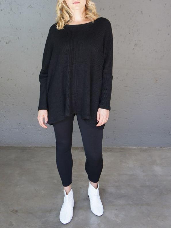 JMVB Goodall Boxy Knit Sweater Black Front