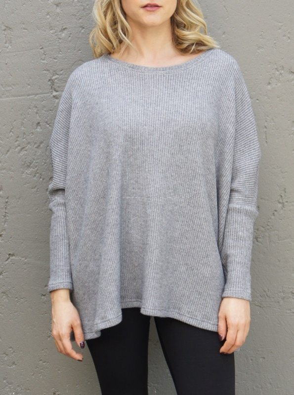 JMVB Goodall Boxy Knit Sweater Grey Cropped