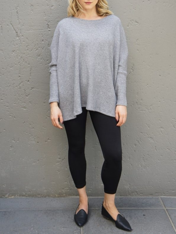 JMVB Goodall Boxy Knit Sweater Grey Front