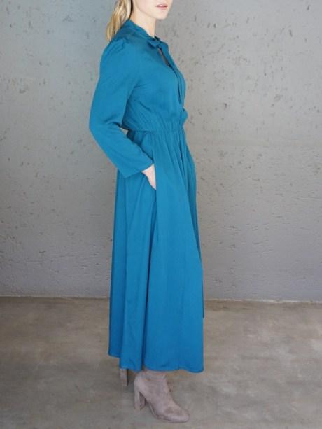 Pussy-Bow Maxi Dress Blue