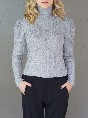 Grey top with pleated shoulder detail
