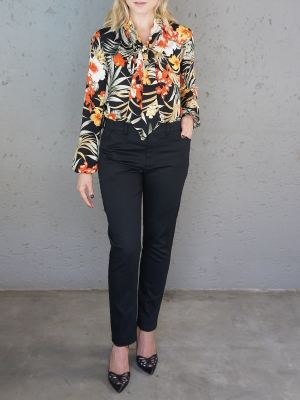 Floral long sleeve blouse with black pants with black pants