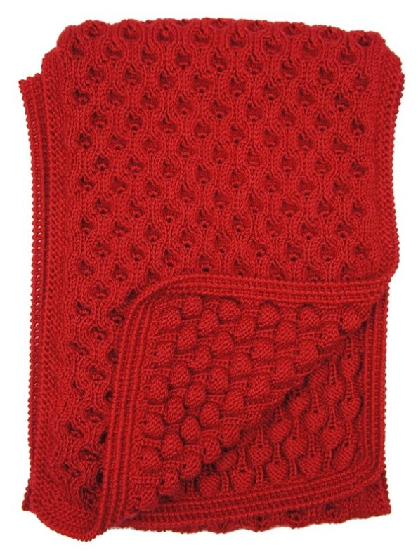 Erre Mohair Bubble Knit Scarf Red Detail