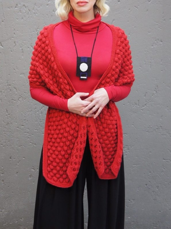 Erre Mohair Bubble Knit Scarf Red Worn Over Shoulders