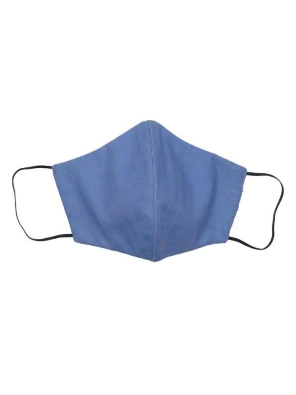 JMVB Face Mask Blue Herringbone Front