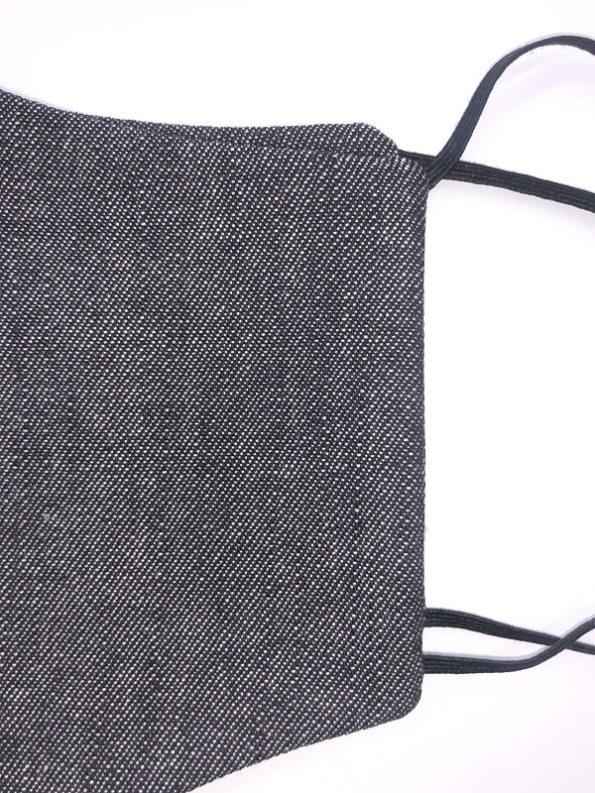 JMVB Face Mask Grey Denim Closeup