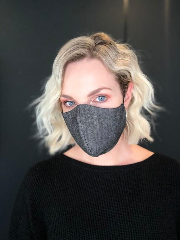 JMVB Face Mask Grey Denim Modeled