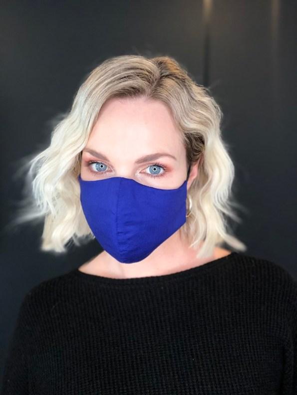 JMVB Face Mask Royal Blue Modeled