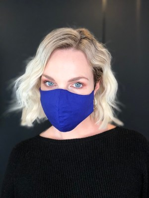 Royal blue cotton fabric face mask from South Africa
