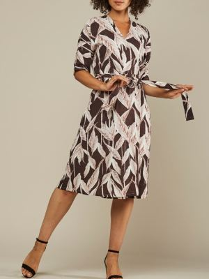 Brown Linen Blend Wrap Dress made in South Africa