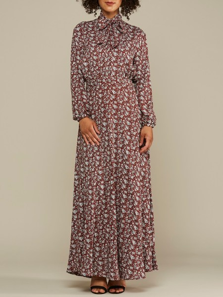 Red Floral Maxi dress with pussy-bow and wide sleeves South Africa
