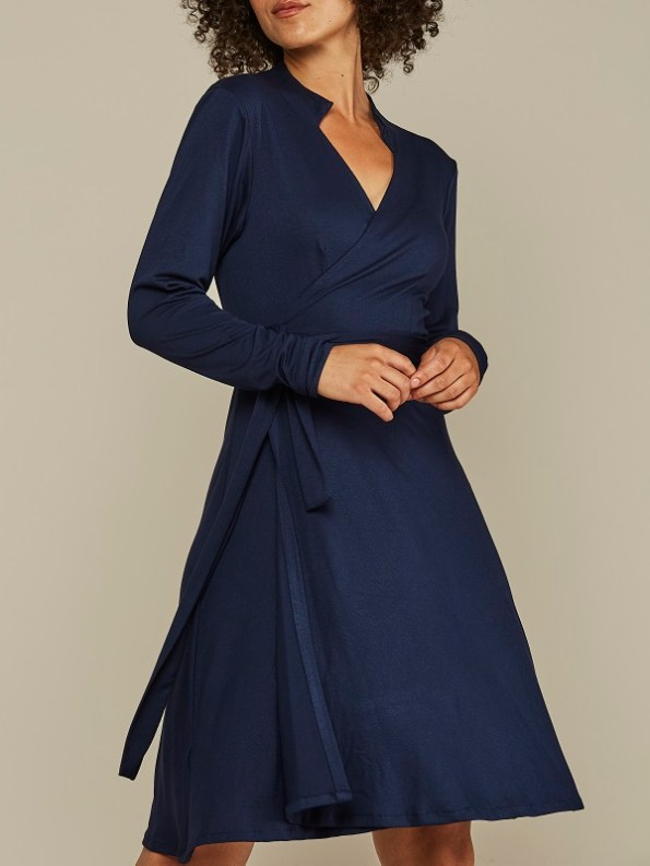 Mareth Colleen Henry Wrap Dress Navy Cropped