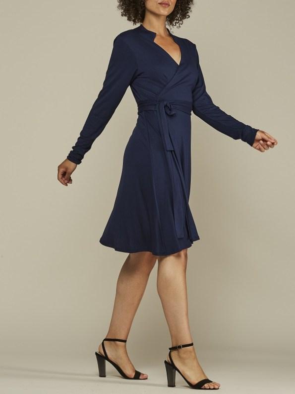 Mareth Colleen Henry Wrap Dress Navy Walk