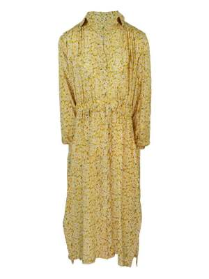 Yellow floral dress with long sleeves and side slits South Africa