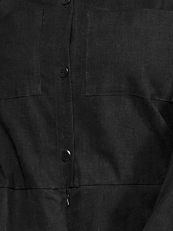 Mareth Colleen Long Sleeve Boilersuit Black Fabric