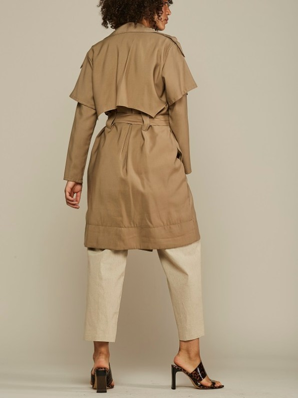 Mareth Colleen Trench Coat Camel Back