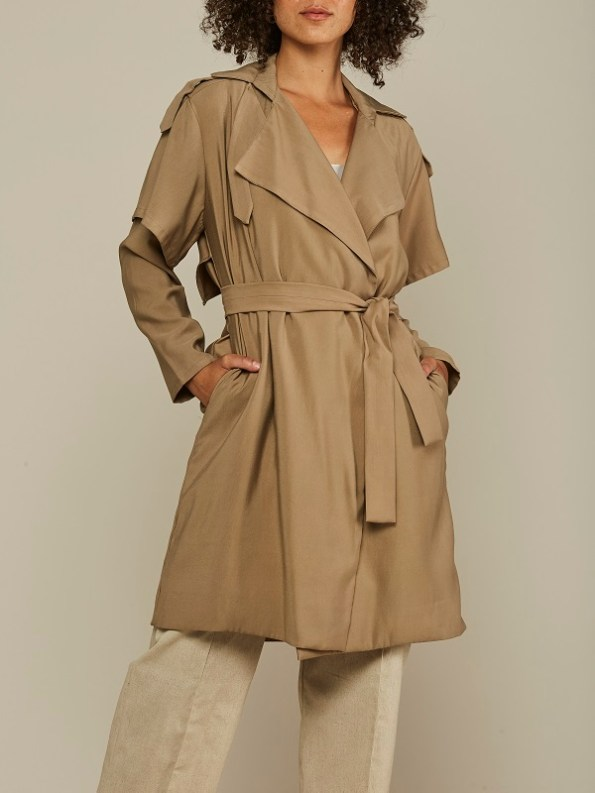 Mareth Colleen Trench Coat Camel Cropped