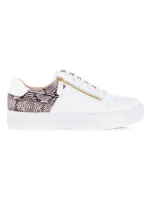 White sneakers with snake print and zip South Africa