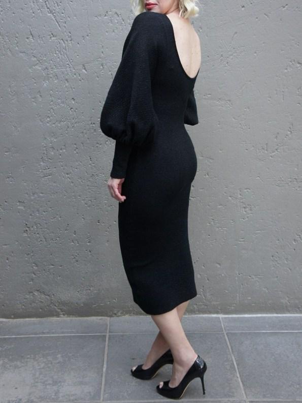 Erre Knitted Balloon Sleeve Dress Black Shimmer Mohair Blend Back