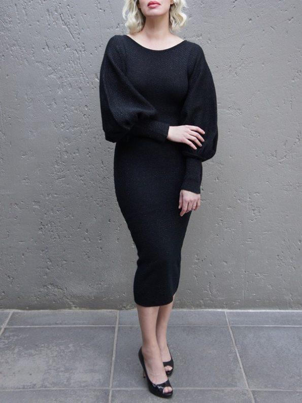 Erre Knitted Balloon Sleeve Dress Black Shimmer Mohair Blend Front