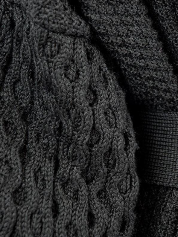 Erre Knitted Coat Black Mohair Blend Detail