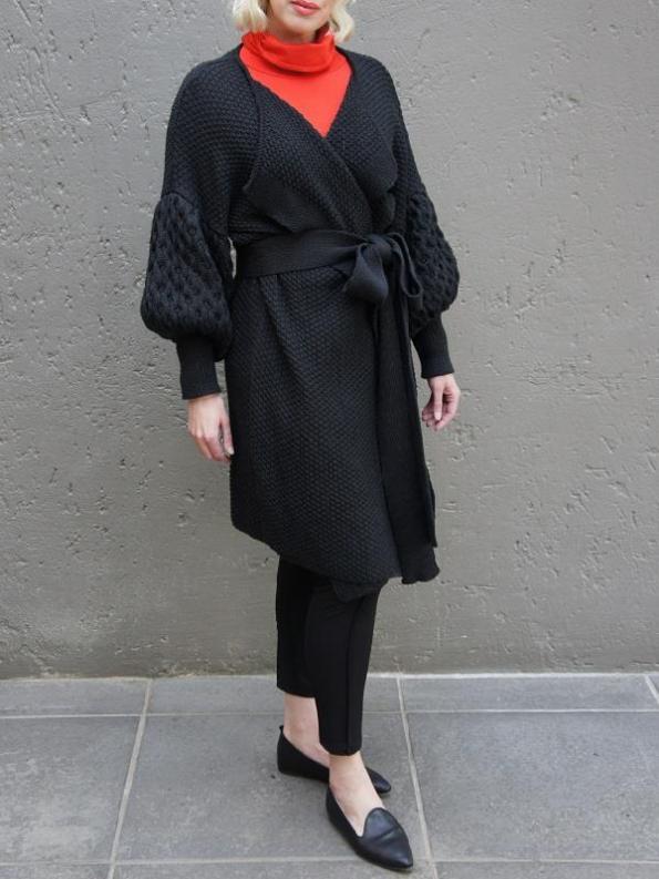 Erre Knitted Coat Black Mohair Blend Side