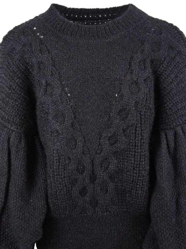 Erre Knitted Sweater Black Mohair Blend Detail
