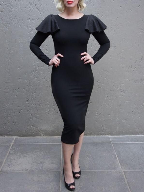 Erre Pencil Evening Dress Black Front