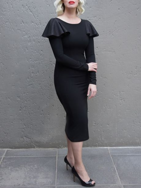 Black evening dress with shoulder frill made in South Africa