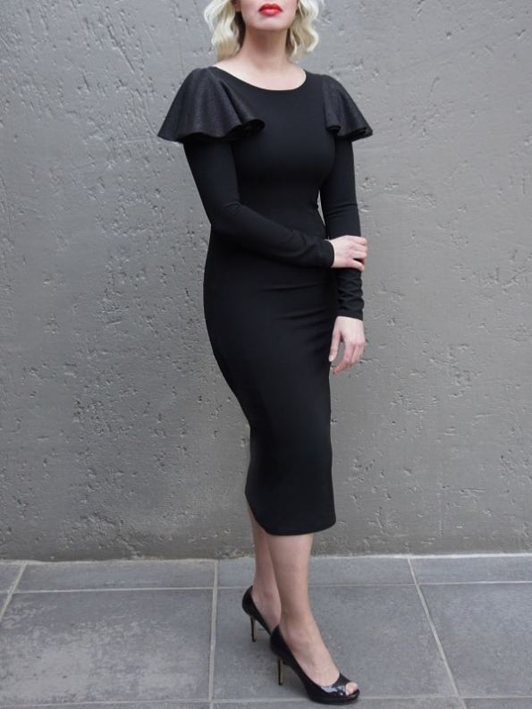 Erre Pencil Evening Dress Black Side