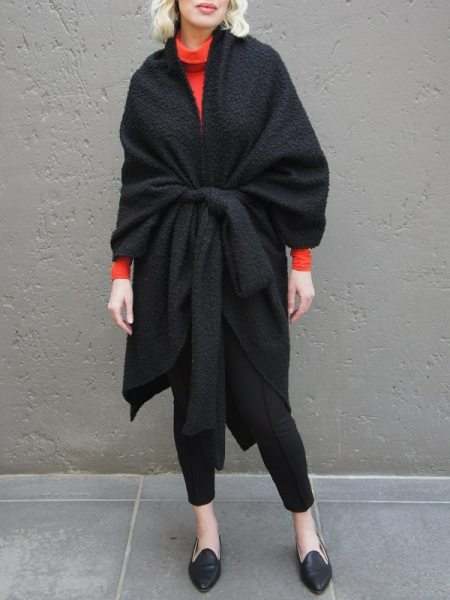 Black Shrug Coat South Africa with orange polo neck